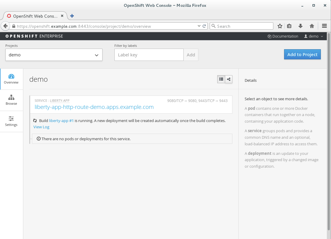 4. OpenShift automatically builds initial Docker image for application