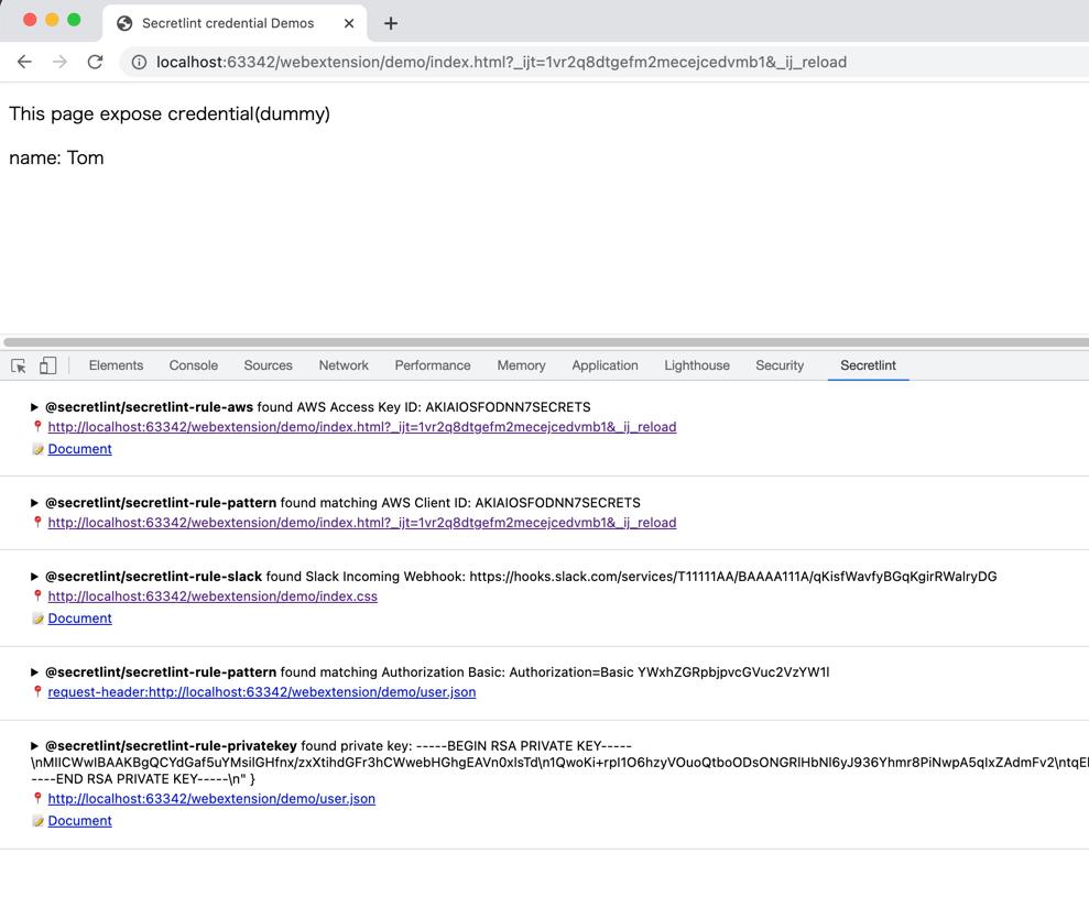 Secretlint WebExtension