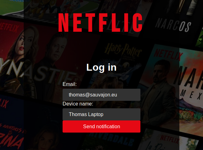 user input his email address on Netflix