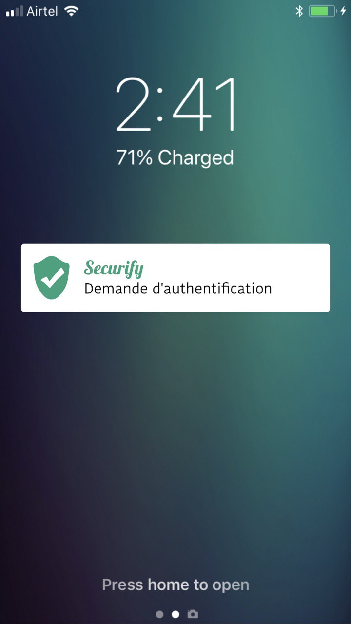 mobile notification: authentication request