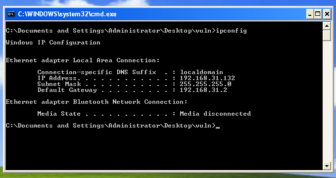 Image of Windows IP Config