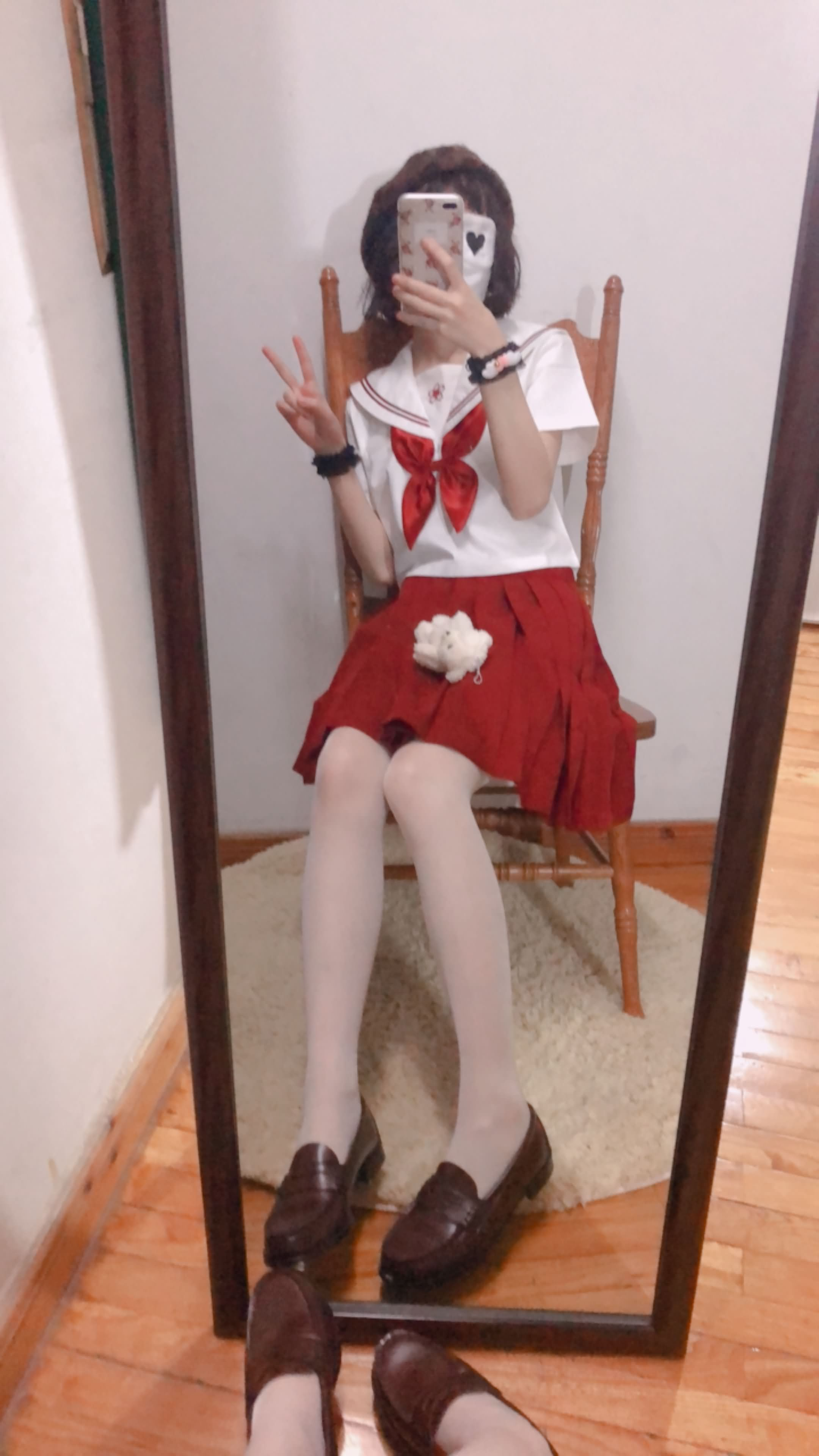 01 - Cosplay red JK uniform white stockings sweet pussy butt 小结巴-红色jk制服白丝 95P
