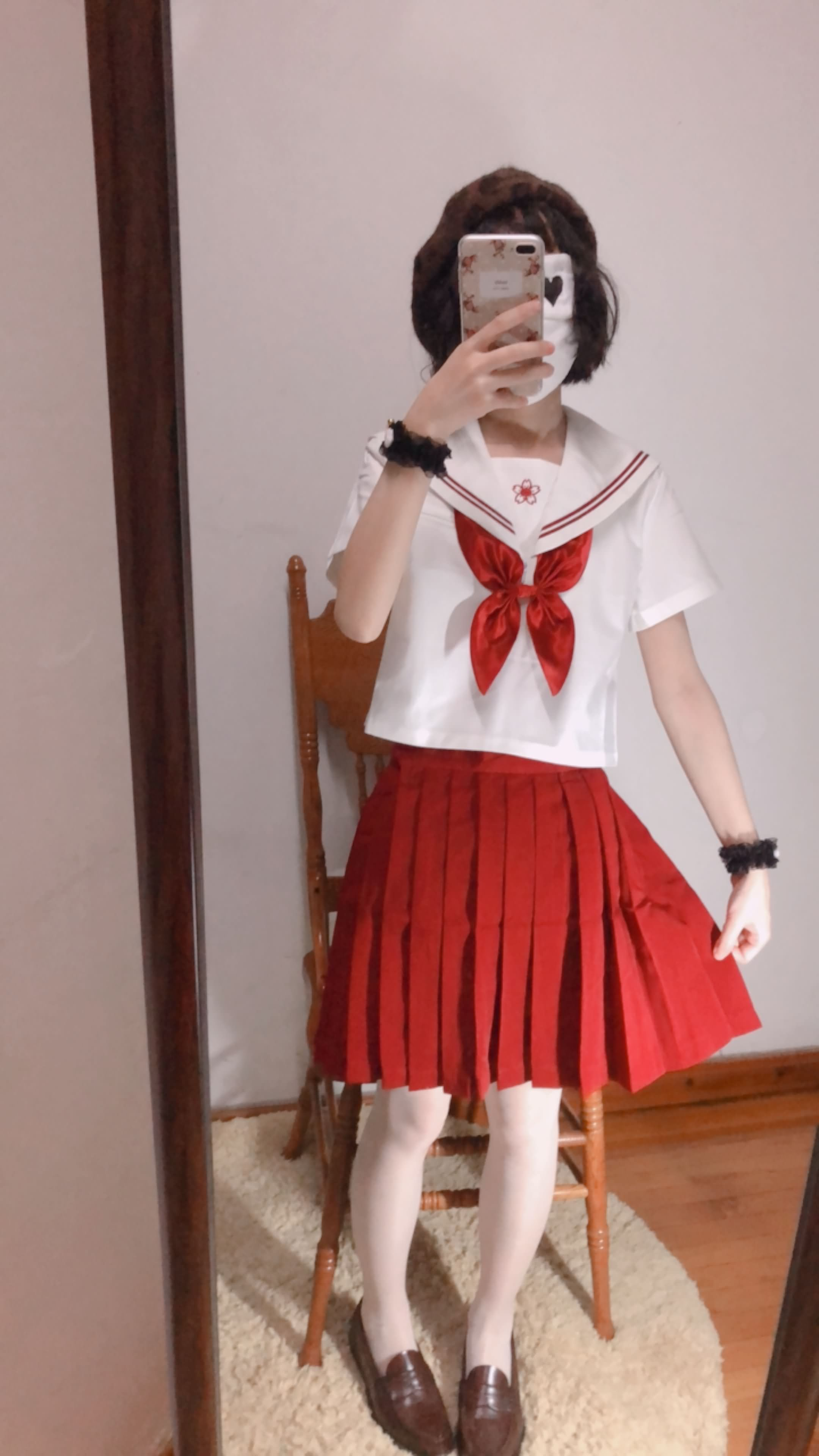 02 - Cosplay red JK uniform white stockings sweet pussy butt 小结巴-红色jk制服白丝 95P
