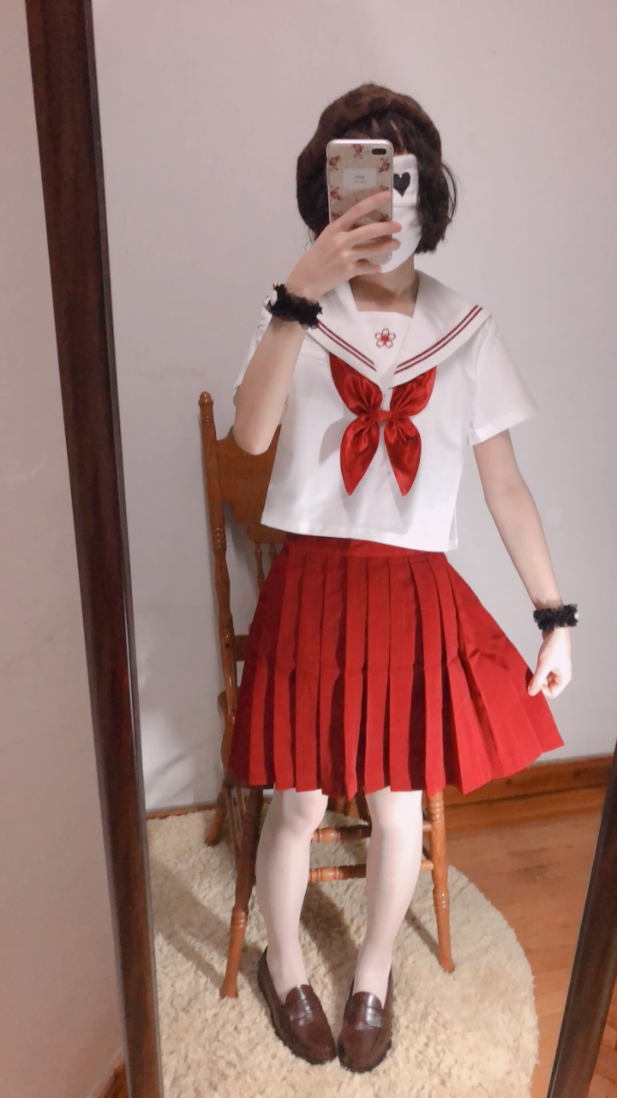 03 - Cosplay red JK uniform white stockings sweet pussy butt 小结巴-红色jk制服白丝 95P