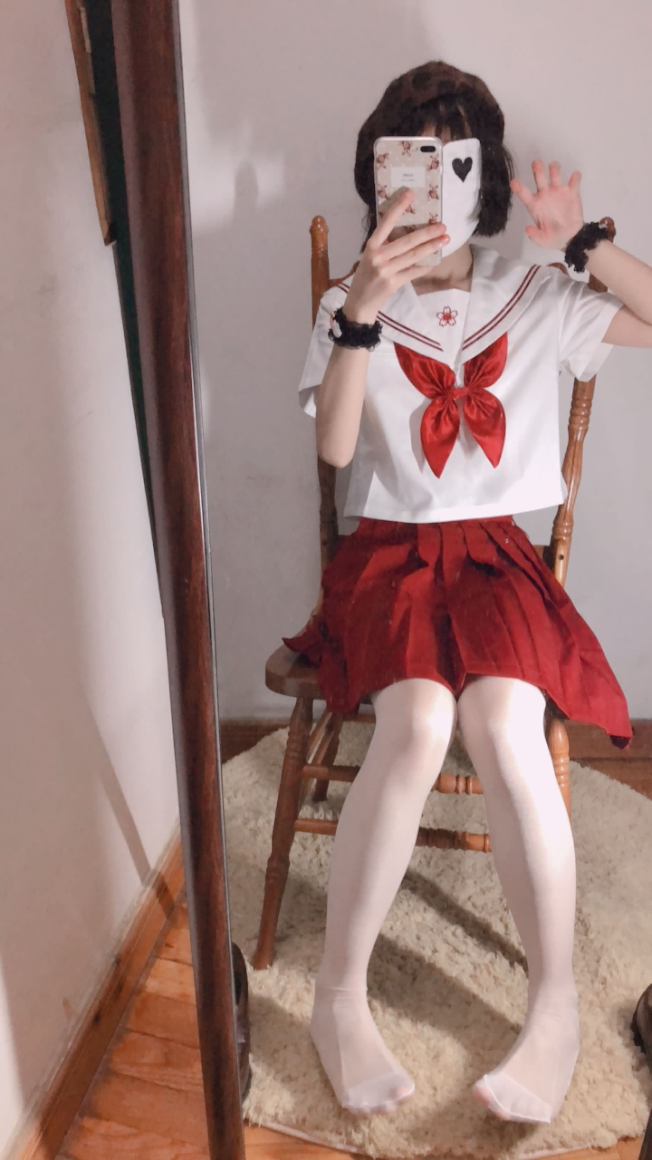 05 - Cosplay red JK uniform white stockings sweet pussy butt 小结巴-红色jk制服白丝 95P