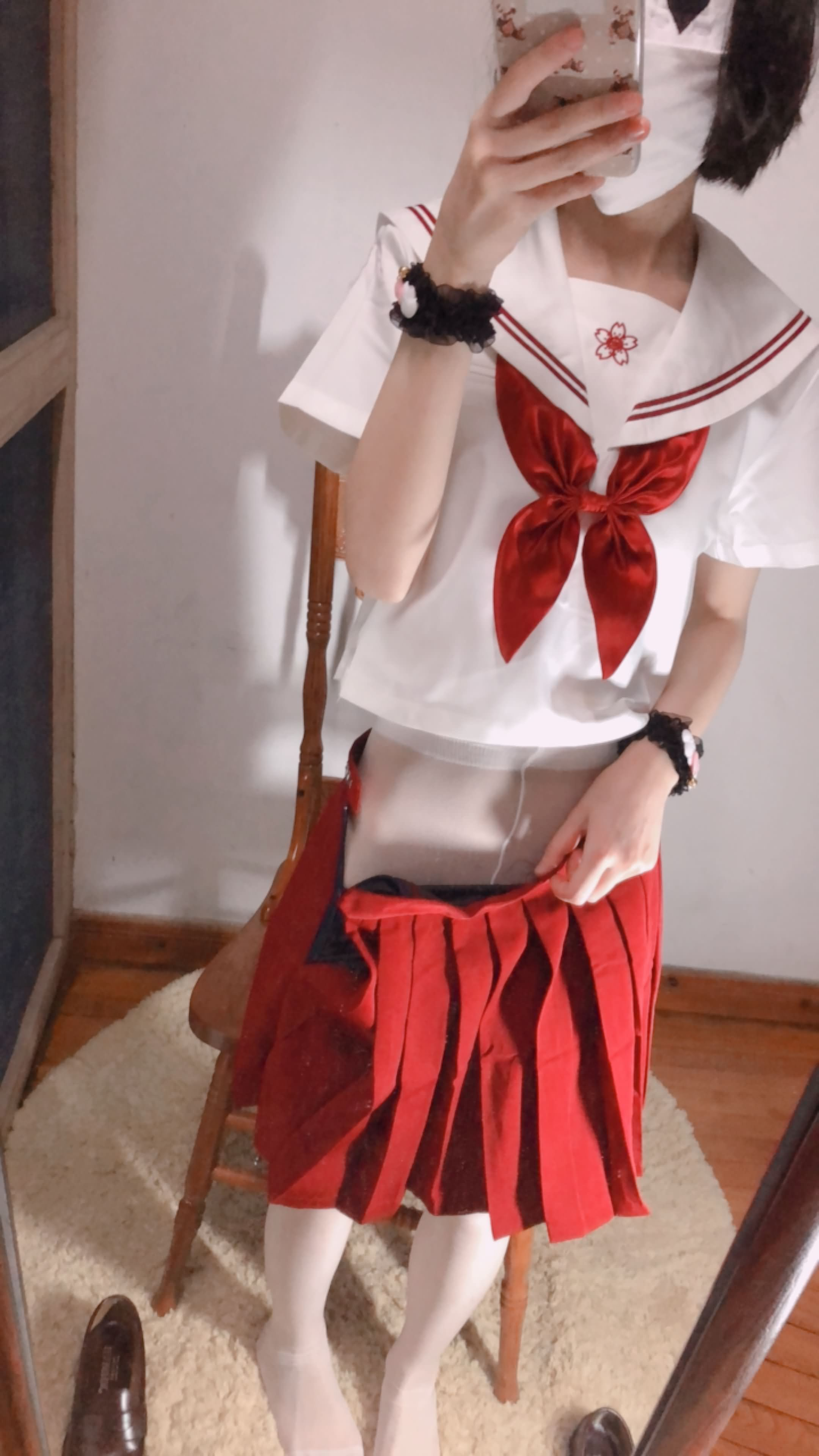 09 - Cosplay red JK uniform white stockings sweet pussy butt 小结巴-红色jk制服白丝 95P