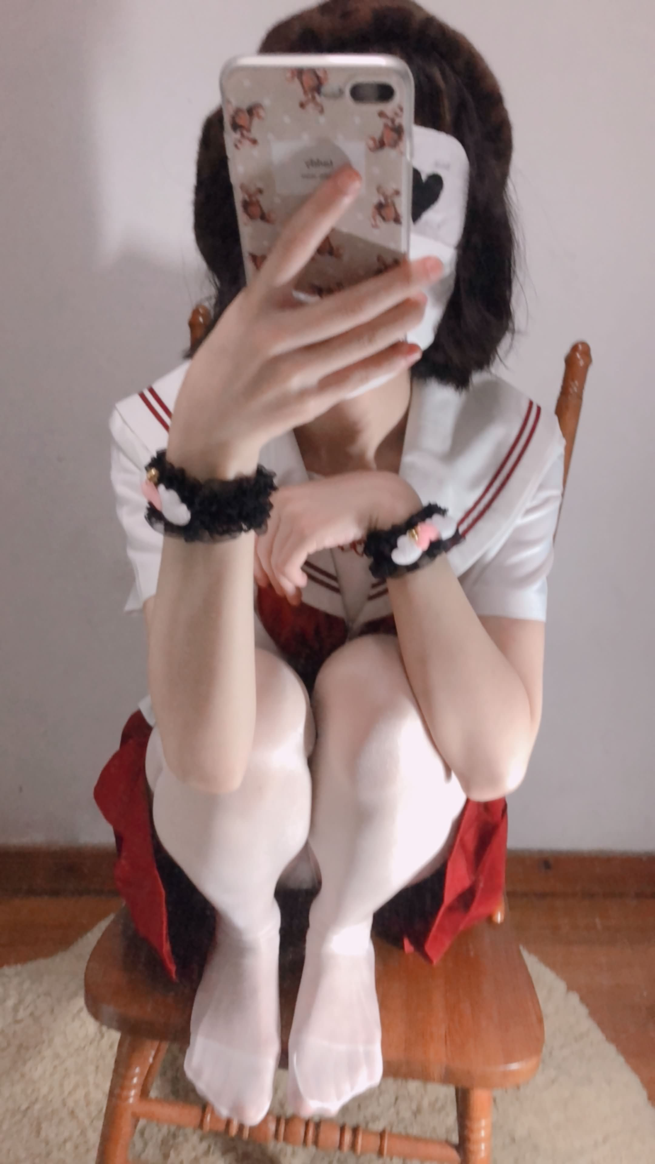 13 - Cosplay red JK uniform white stockings sweet pussy butt 小结巴-红色jk制服白丝 95P