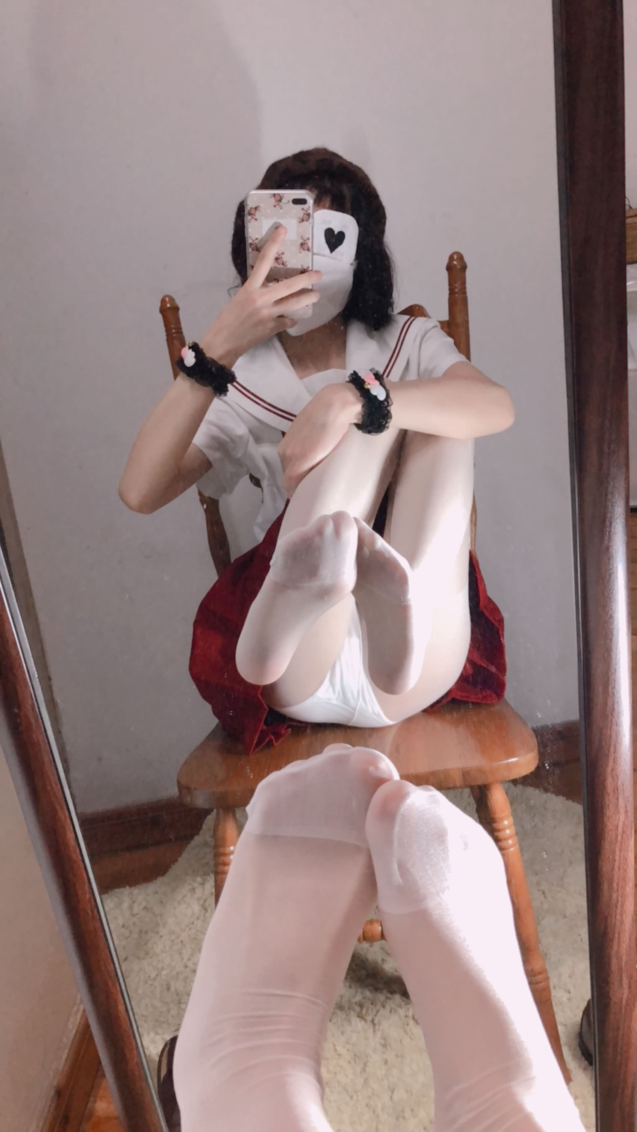 17 - Cosplay red JK uniform white stockings sweet pussy butt 小结巴-红色jk制服白丝 95P