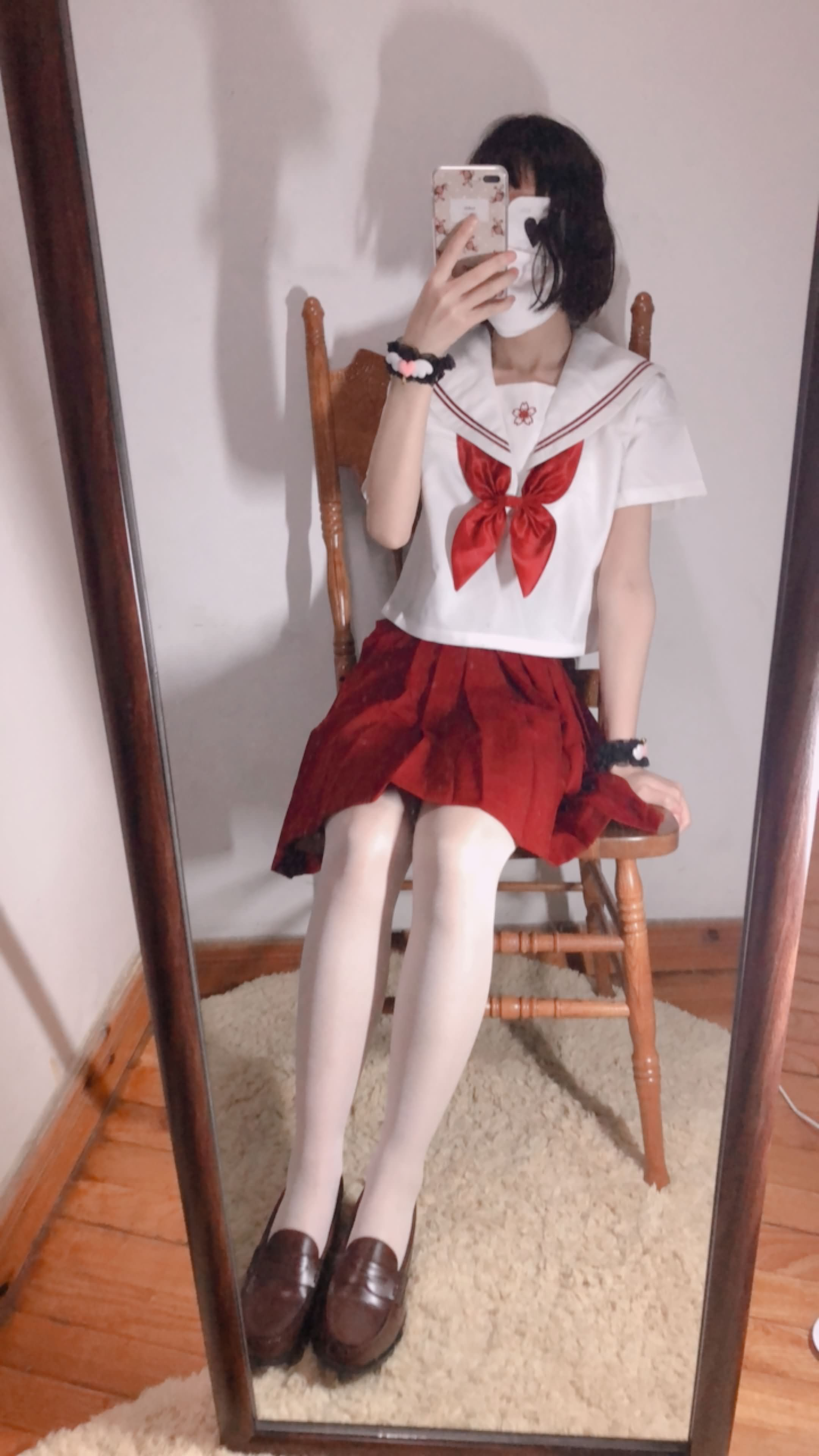 19 - Cosplay red JK uniform white stockings sweet pussy butt 小结巴-红色jk制服白丝 95P