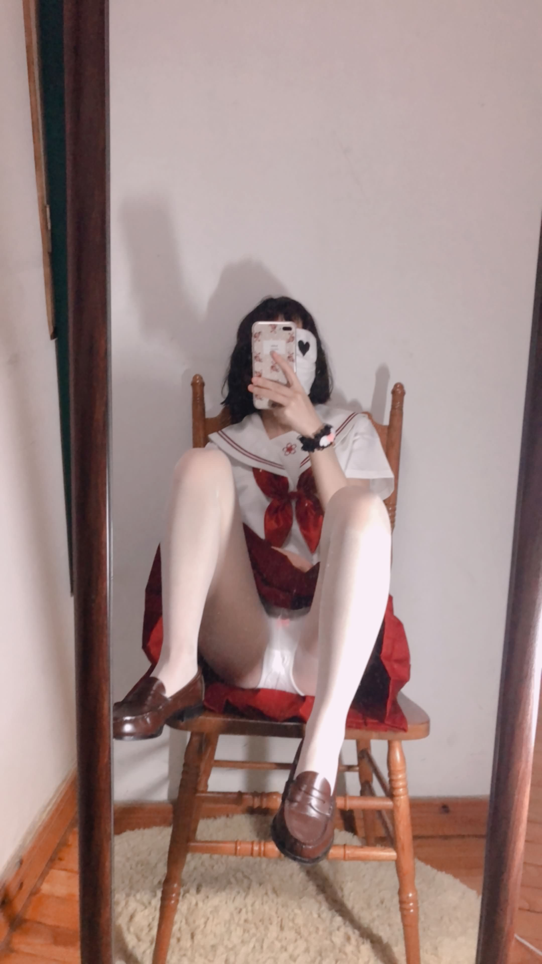 21 - Cosplay red JK uniform white stockings sweet pussy butt 小结巴-红色jk制服白丝 95P