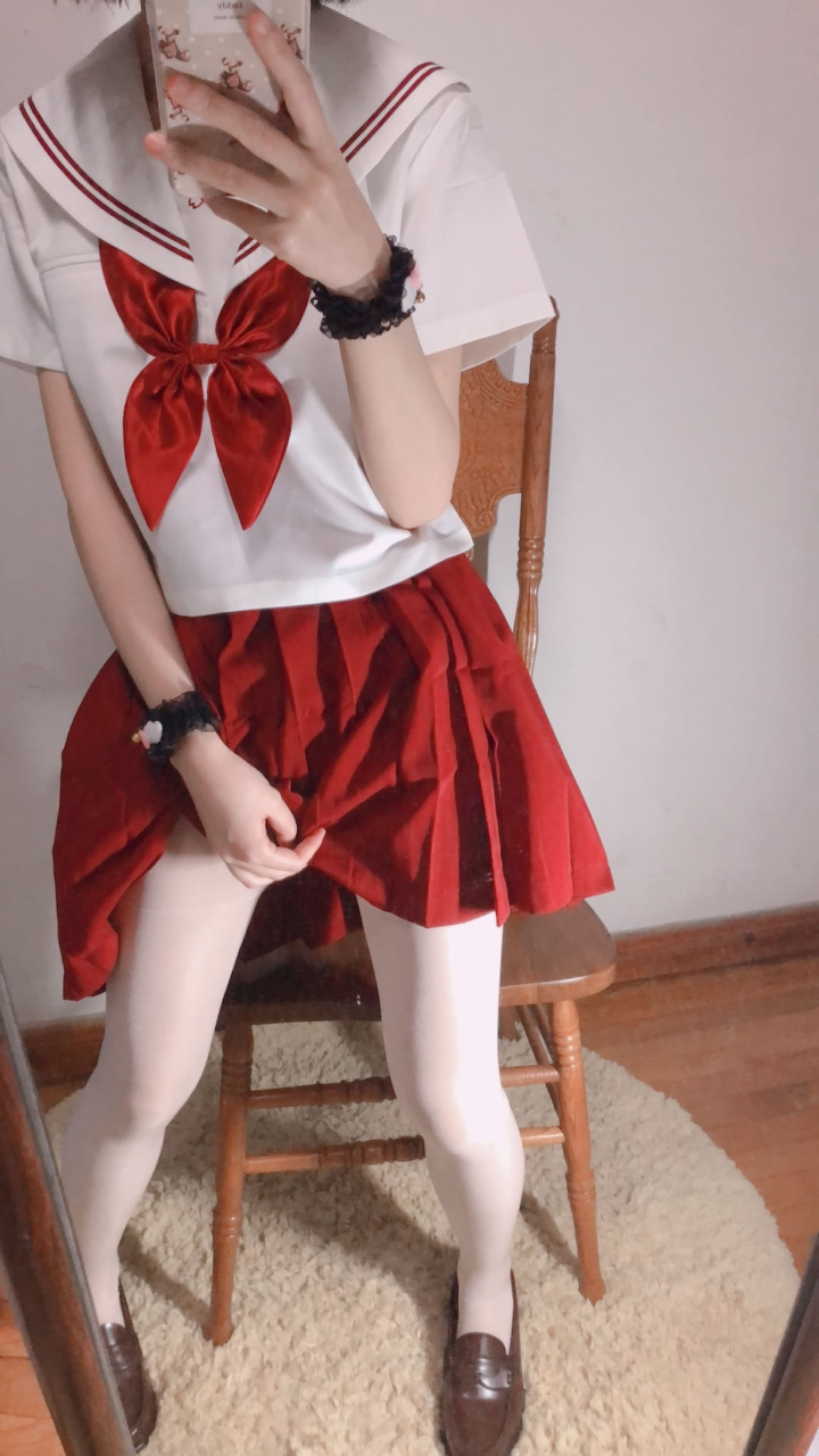 33 - Cosplay red JK uniform white stockings sweet pussy butt 小结巴-红色jk制服白丝 95P