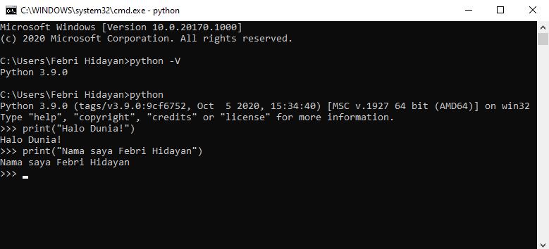 Verifikasi instalasi Python