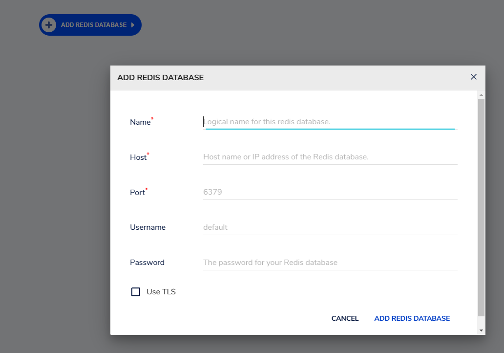 add redis database details