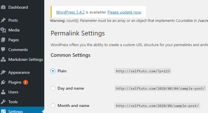 Select the plain option in Permalink