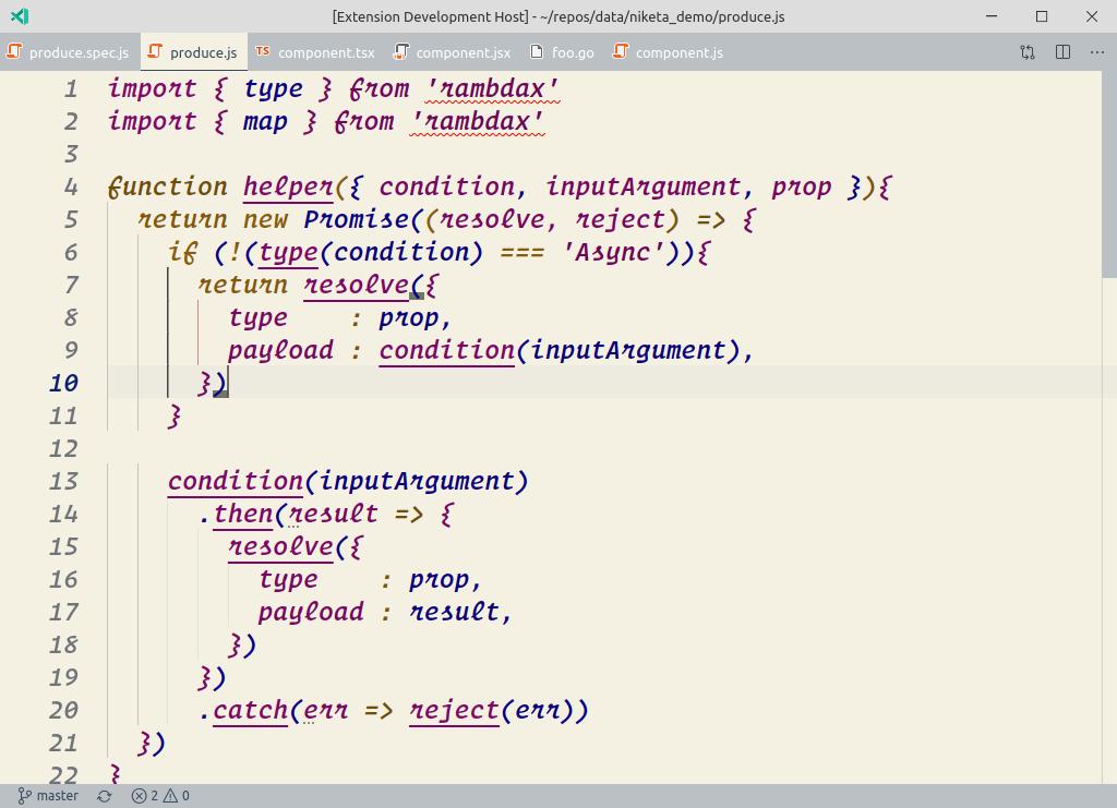 VSCode theme screen