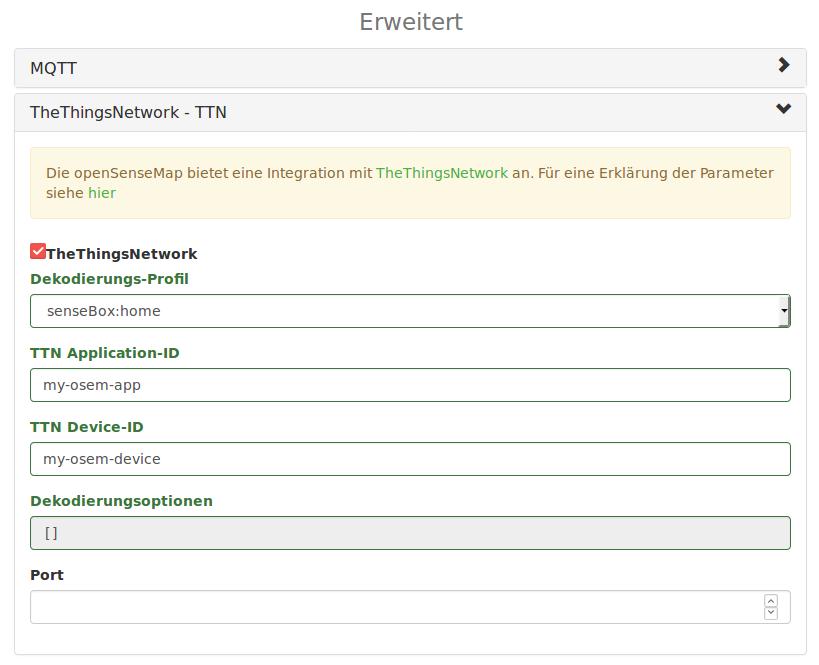 Registrierung auf der openSenseMap
