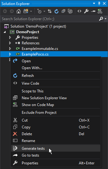 Solution Explorer context menu
