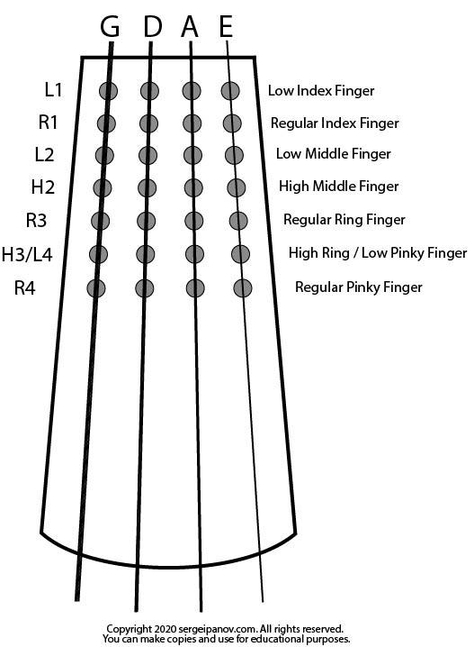 Diagram of violins fingerboard
