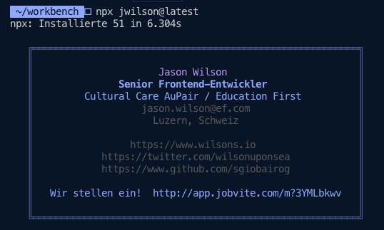Screen capture of the business card output by the npx jwilson command in NPM