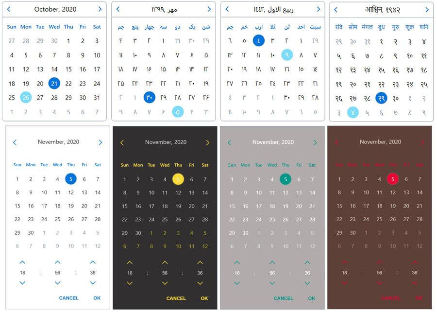 date picker layouts