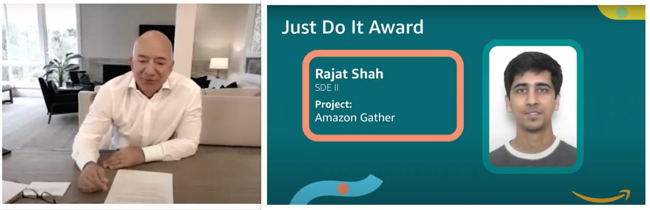 Rajat Shah receiving the Just Do It award
