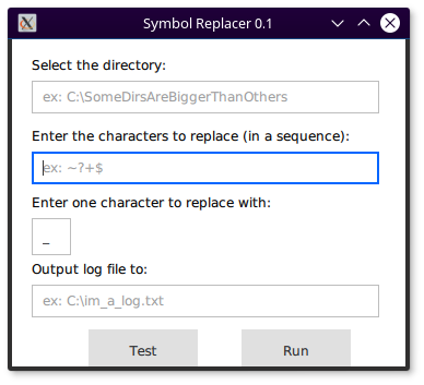 Symbol Replacer UI screenshot