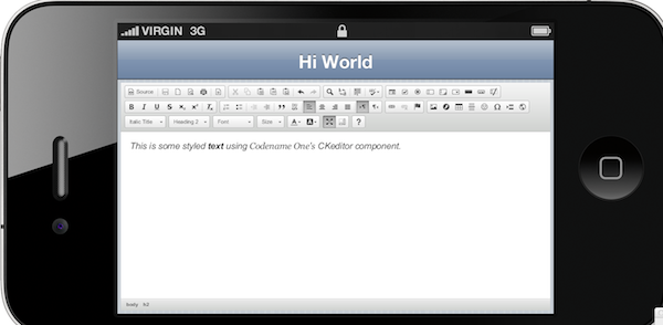 CKeditor Widget in CodenameOne Simulator