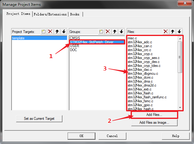 图8 添加 STM32F4xx_StdPeriph_Driver 分组的文件
