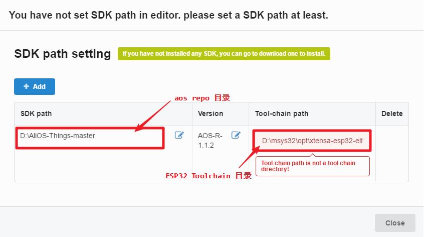 图5 添加 SDK path 与 Toolchain path