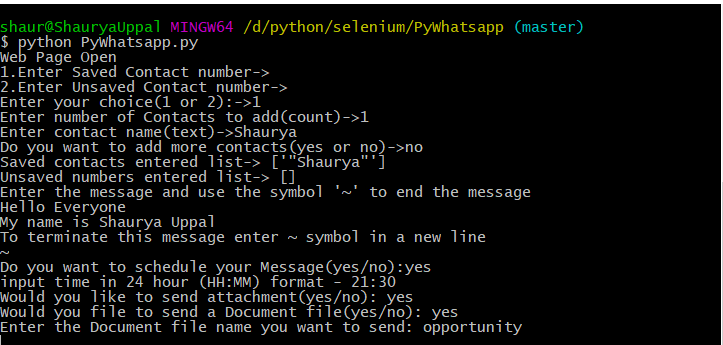 GitHub - shauryauppal/PyWhatsapp: Python Automation using
