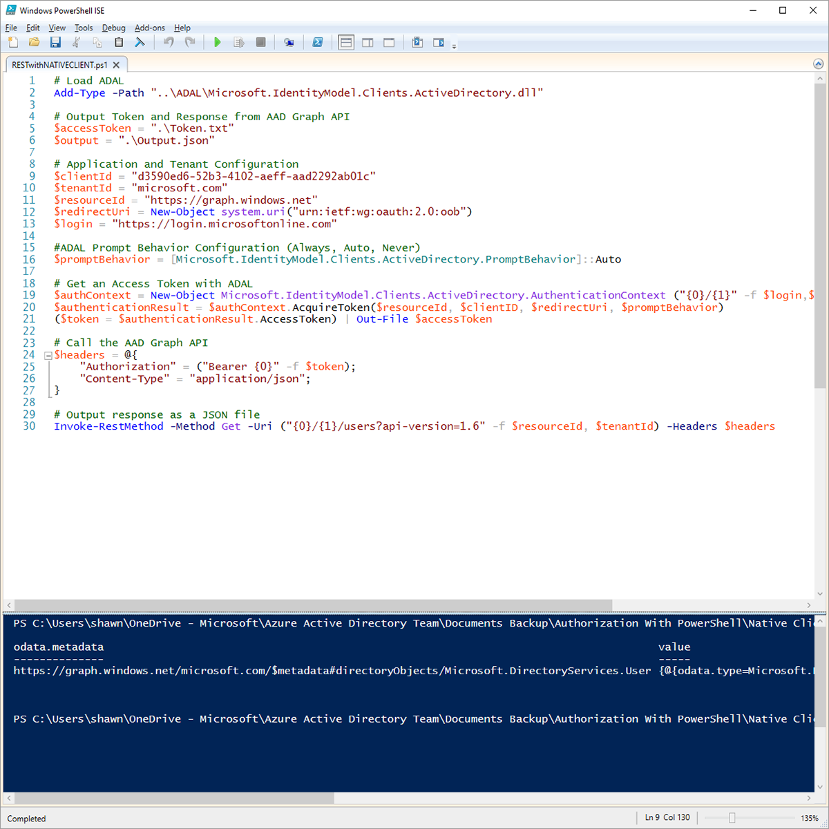Azure-AD-Authentication-with-PowerShell-and-ADAL Screenshot