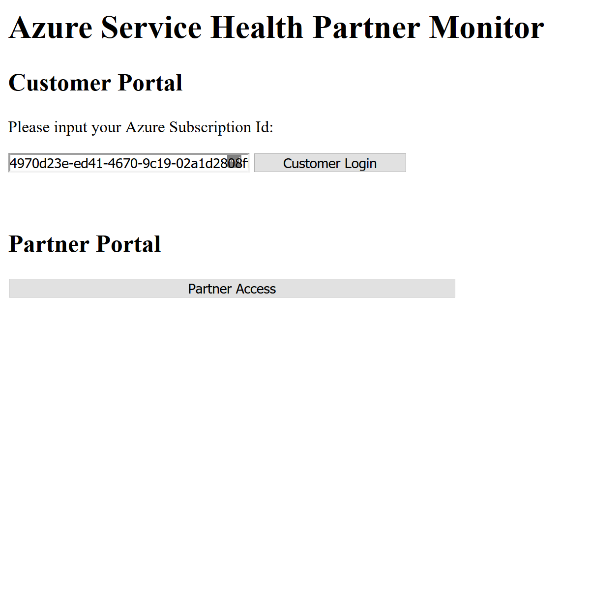 Azure-Service-Health-Partner-Monitor Screenshot