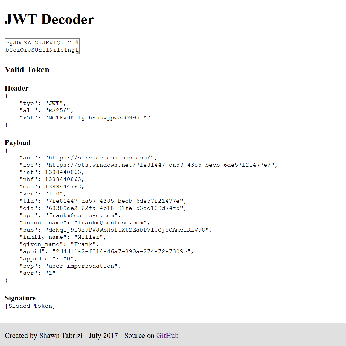 JWT-Decoder Screenshot