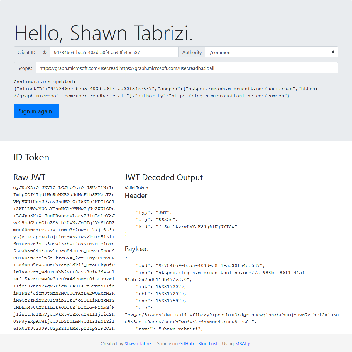 Microsoft-Authentication-with-MSAL.js Screenshot