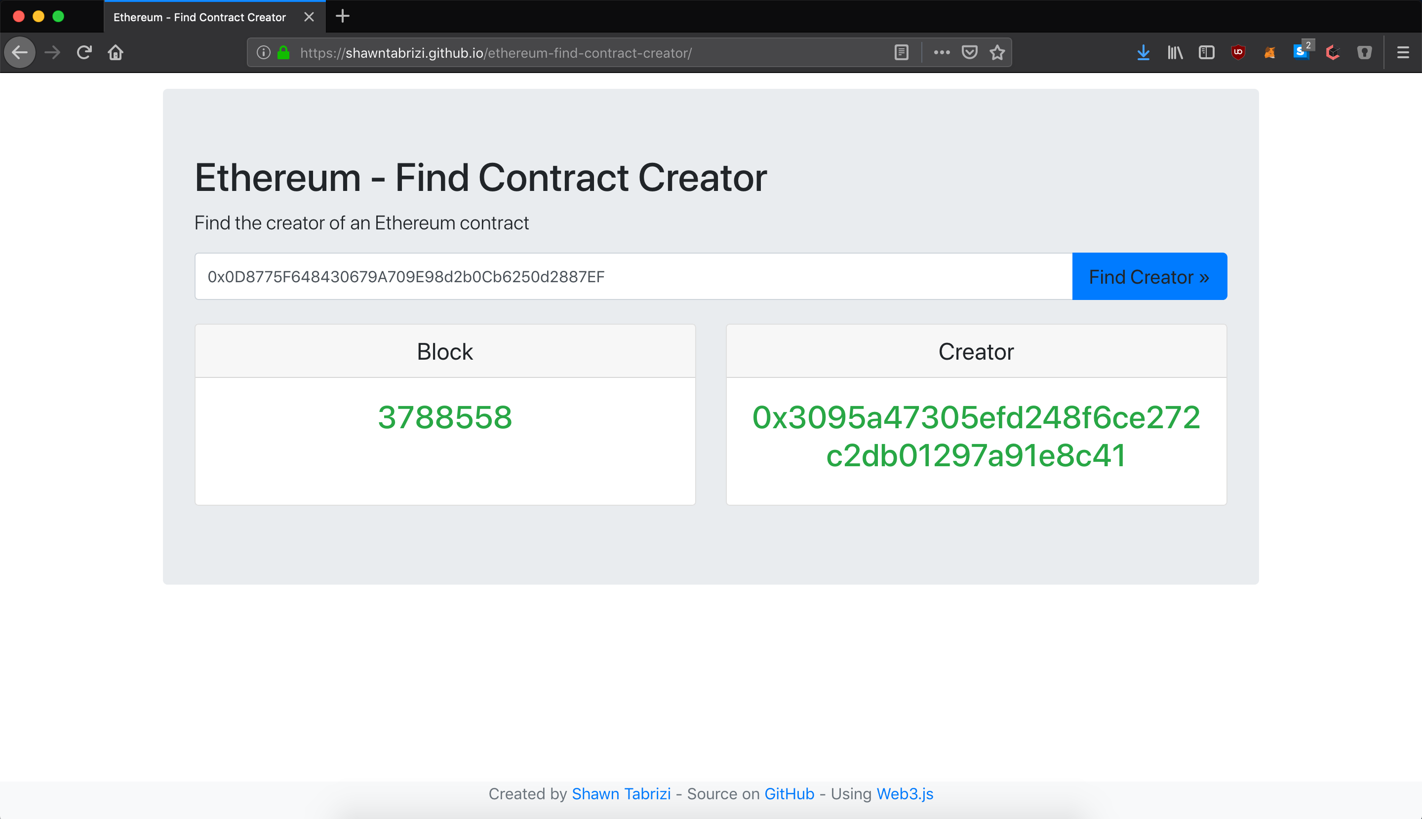ethereum-find-contract-creator Screenshot