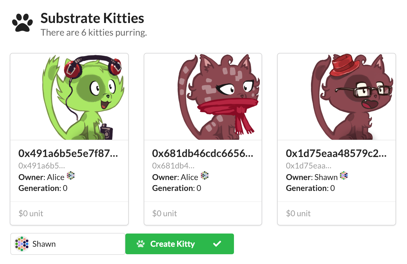 A screenshot of Substrate kitties