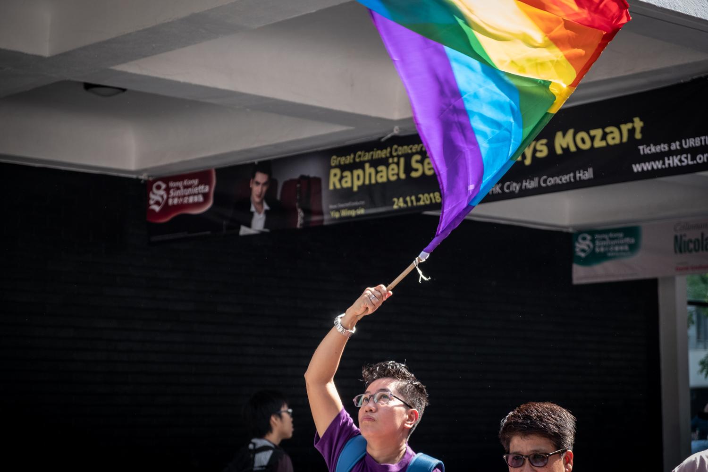 Kicking off Migrants' Pride 2018 in Hong Kong waving the rainbow flag