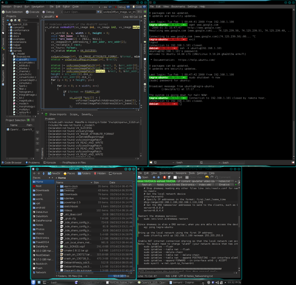 Screenshot of my KDE Desktop showing the shell prompt highlighting in green & red in the top-right window