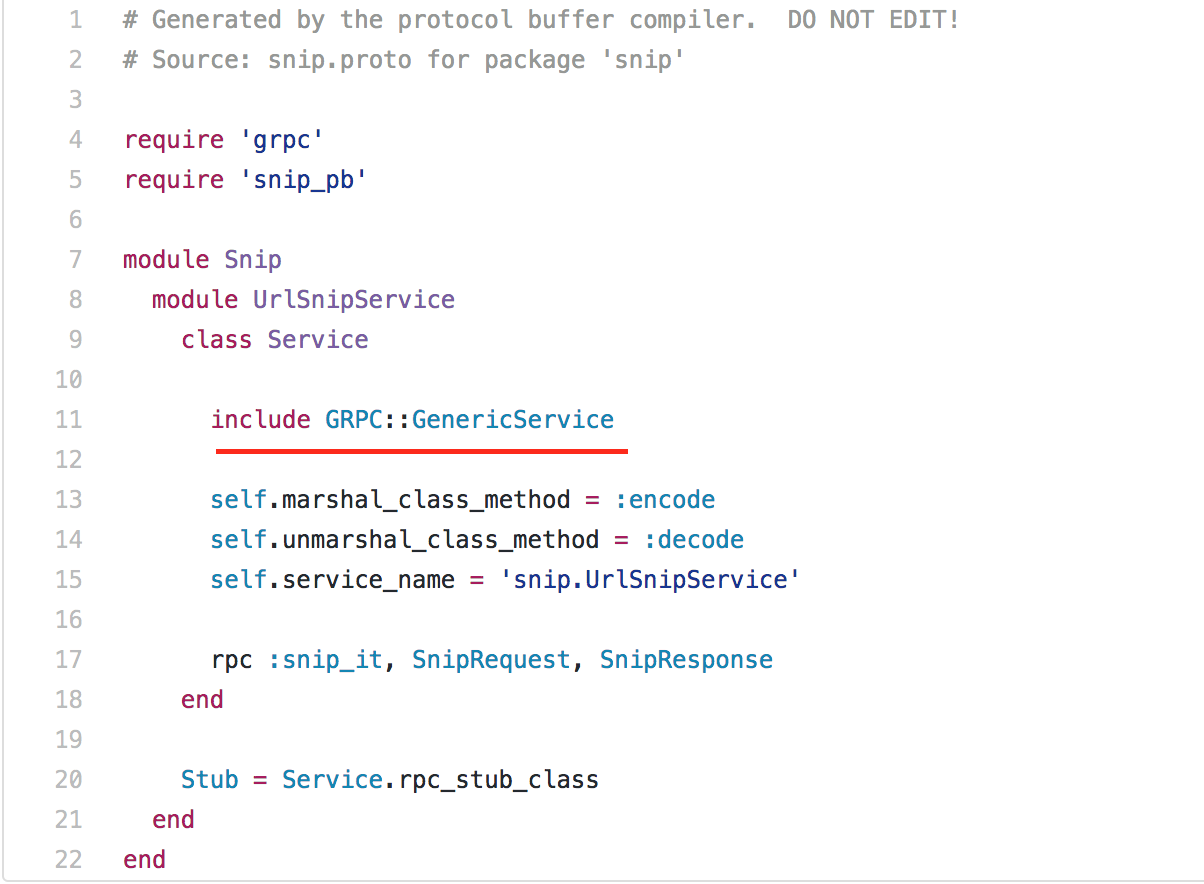 generated rb file for grpc service