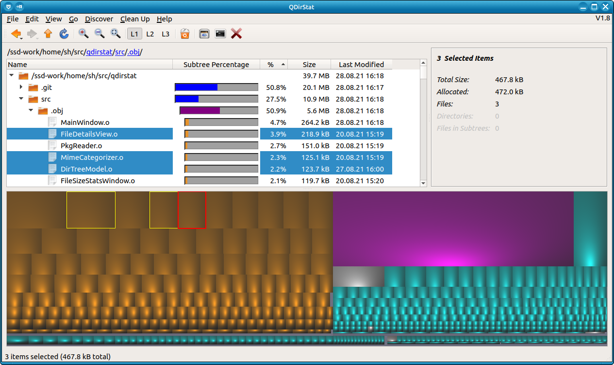 QDirStat screenshot with treemap