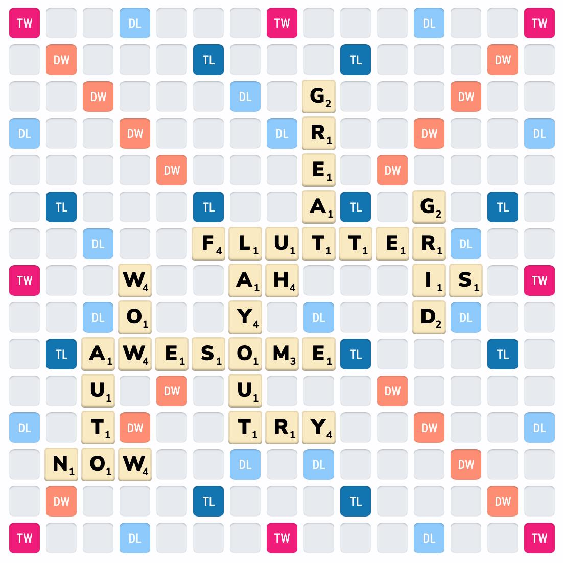 Scrabble board rendered using Flutter Layout Grid