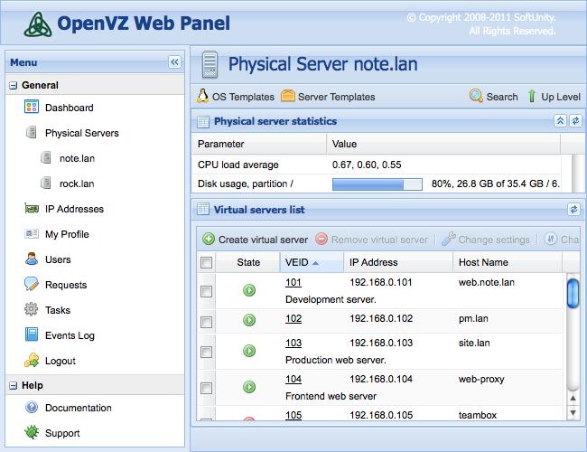 OpenVZ Web Panel