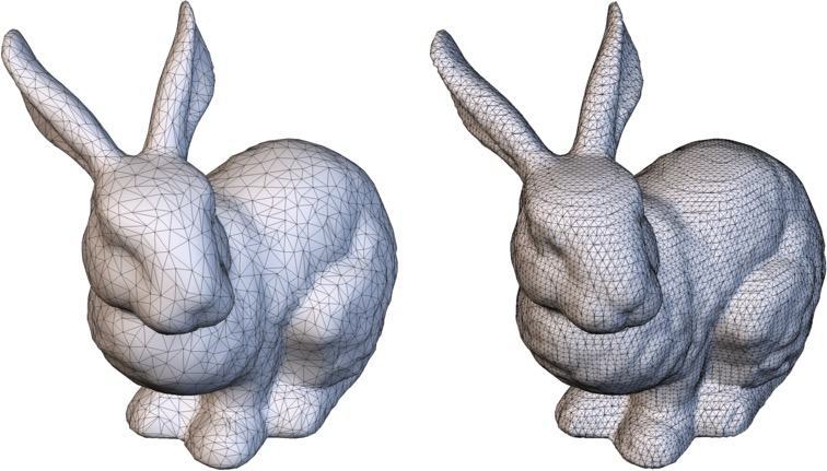 Bunny mesh, before and after remeshing