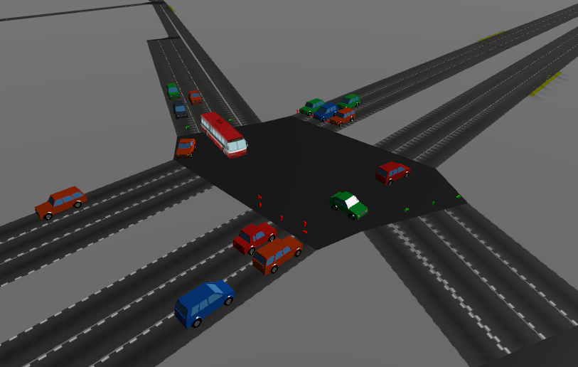 Screenshot of SUMO-Web3D showing an intersection with cars and a bus