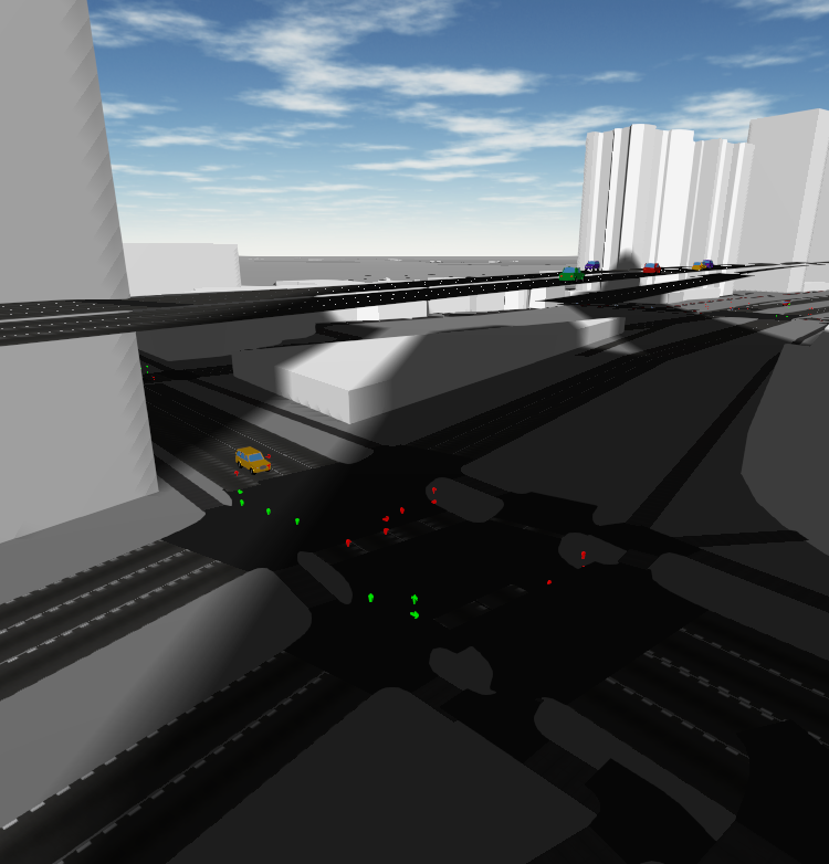 Screenshot of an elevated highway with buildings