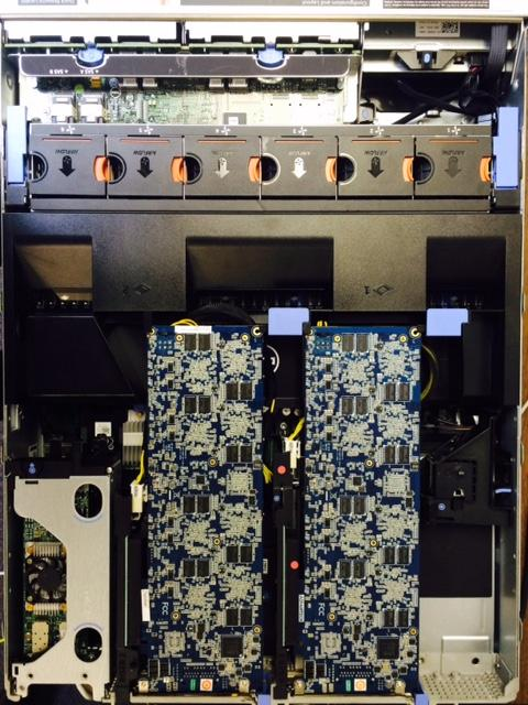 Dell R720 server with 128 c66x cores, suitable for cloud based deep learning training, testing, and model compression