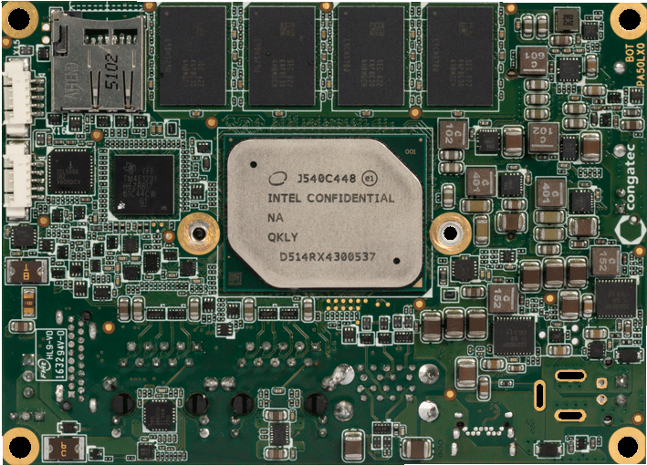 x5-E3930 dual-core Atom CPU pico-ITX board, CPU side view