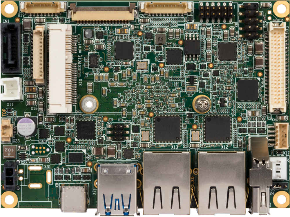 x5-E3930 dual-core Atom CPU pico-ITX board, component side view