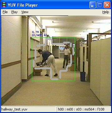 Object tracking and stats printout or men walking in a hallway carrying objects, stable camera