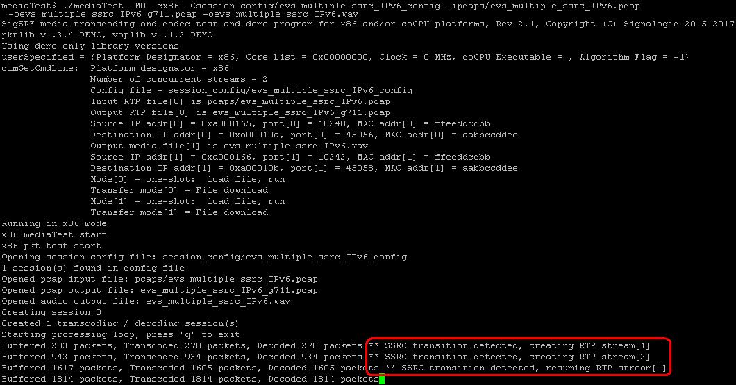 mediaTest multiple RTP stream command line example